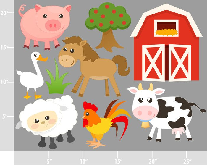 Barn clipart farmyard. Cute farm animals buy image download