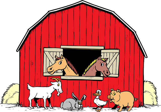 Barn clipart pig. Animals cartoon duck goat
