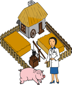 Barn clipart pig. Doctor on a farm
