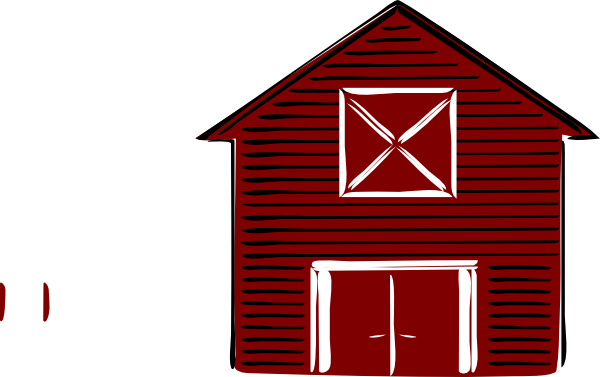 Drawing farmer barn. Traditional clip art vector