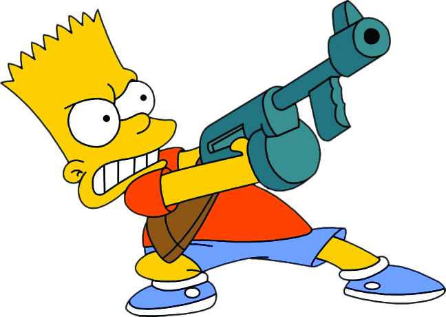 Bart drawing gun. Machinegun simpsons thesimpsons bartsimpson