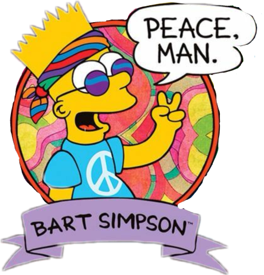 Bart drawing hippie. Tumblr simpsons sticker by