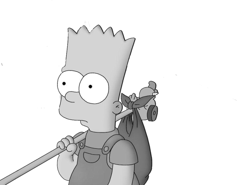 Bart drawing zombie. Simpson running away psd