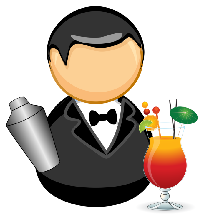 Bartender drawing barman. Wine cocktail sommelier glass