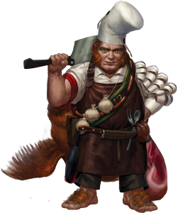 Bartender drawing halfling. Gnome chef hobbit the