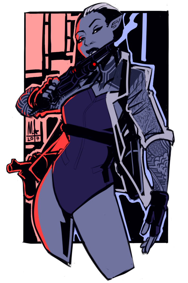 Bartender drawing shadowrun. Elf weapons specialist by