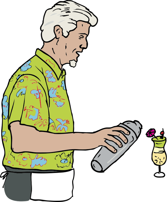 Bartender drawing waitress musical. Free clipart of waiters