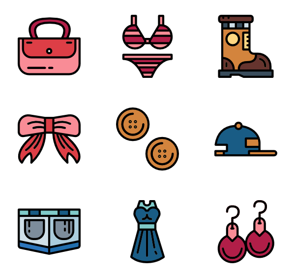 Vector clothes. Jewelry icons free fashion