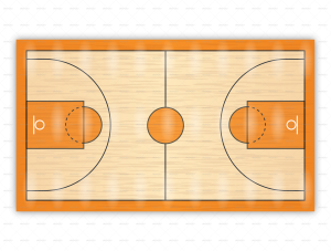 Court drawing basketball. Diagrams for up plays