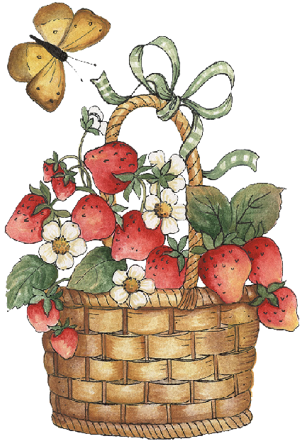 Basket clipart woven basket. With strawberries and butterfly