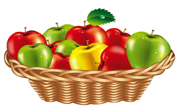 Basket of apples png. Fruit clipart egy b