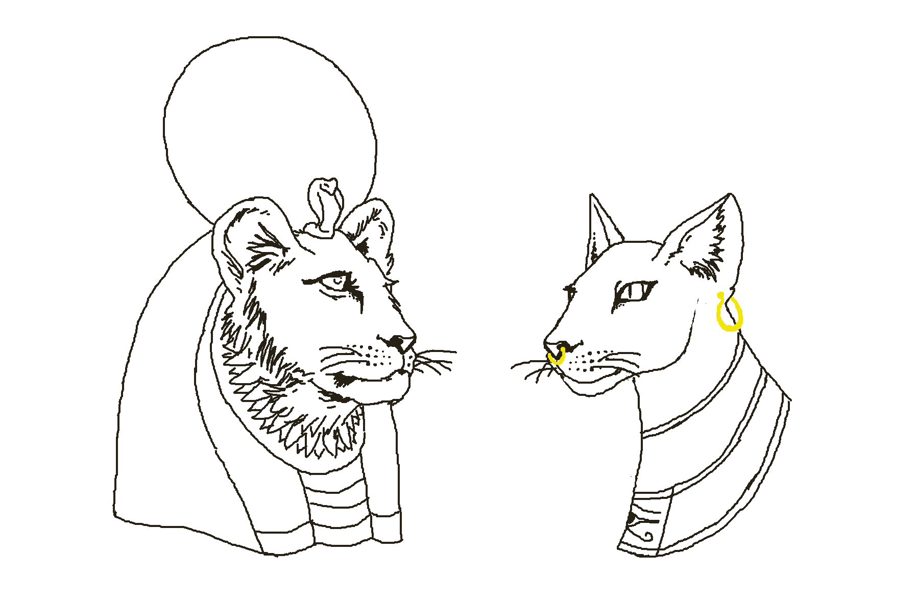 Bastet drawing. Two busts one of