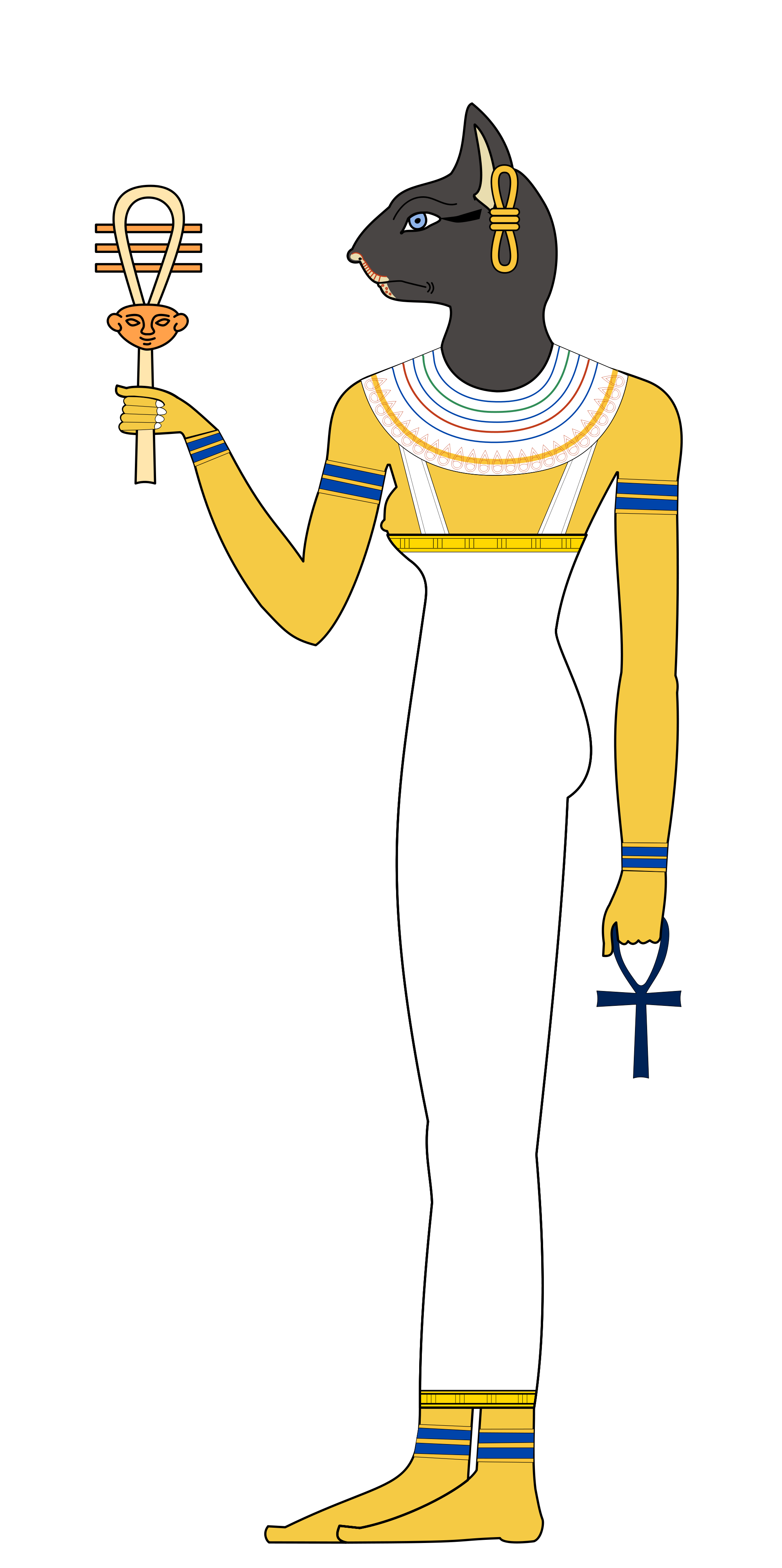 Bastet drawing female goddess. Wikipedia bastetsvg