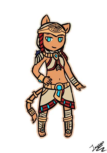 Smite sticker by thecoconutturtle. Bastet drawing art royalty free library
