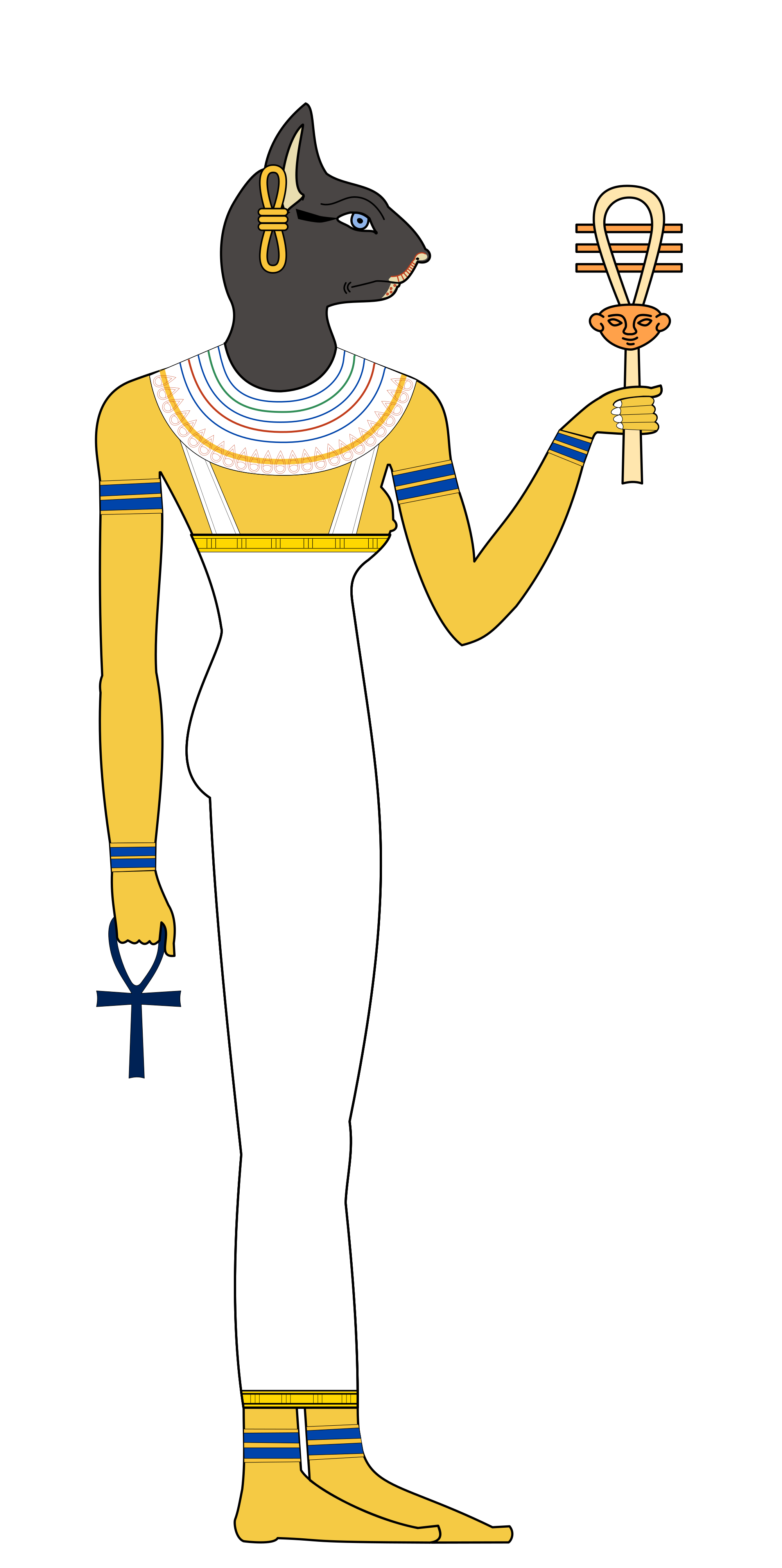 Bastet drawing goddess. File mirror svg wikimedia