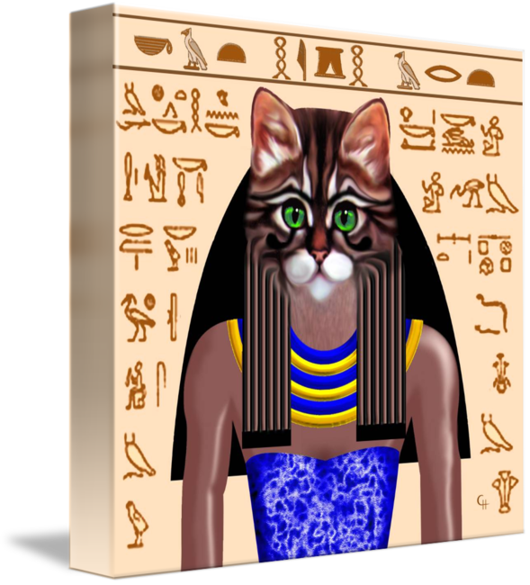 Bastet drawing modern. Egyptian goddess by cat