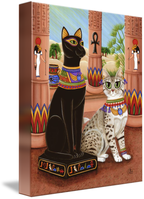 Bastet drawing daughter. Temple of egyptian bast