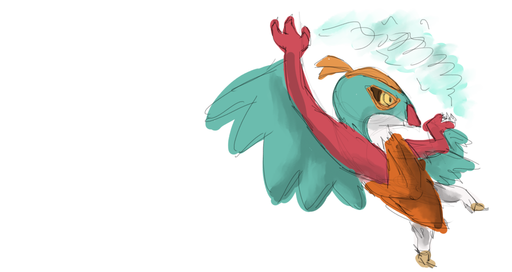 Bastion drawing bird. Airbender hawlucha request done