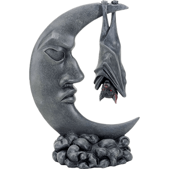 Bat statue png. On moon halloween home
