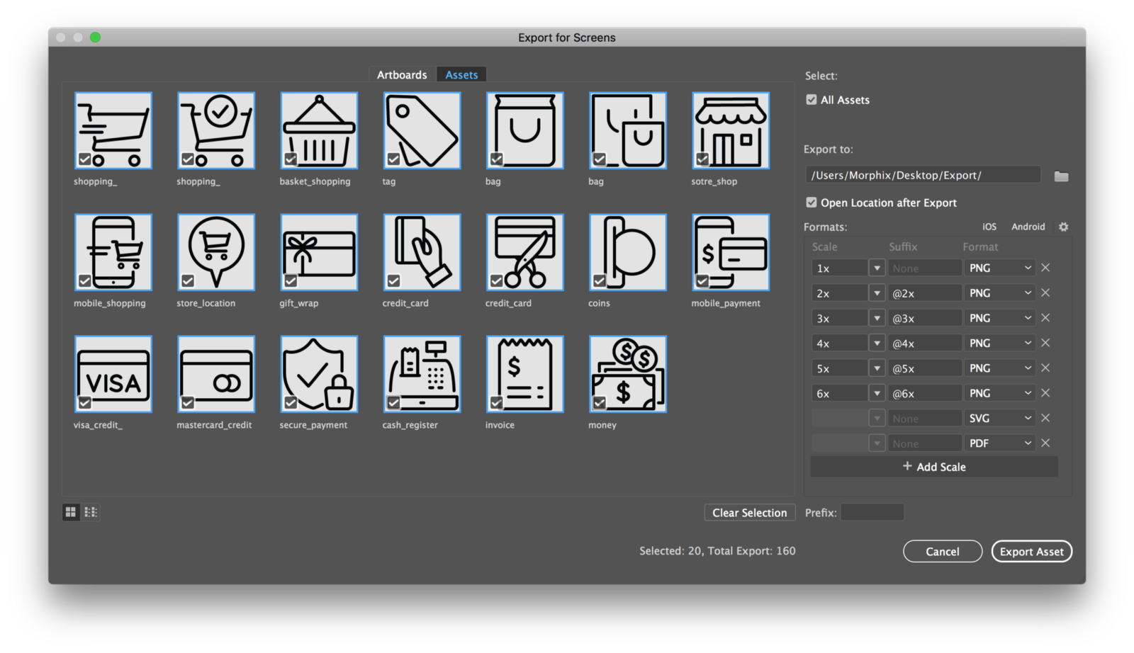 Export vector icons multiple. How to save a png file in illustrator library