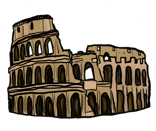 Bath drawing ancient roman building. Colosseum new wonders of