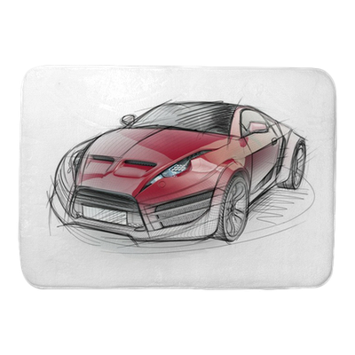 Drawing sports car. Sketch of a non