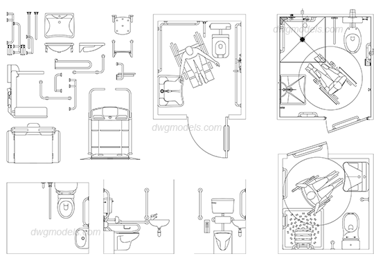 Drawing bathroom cad. Disabled toilet dwg free