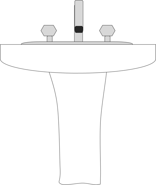 pedestal drawing sink