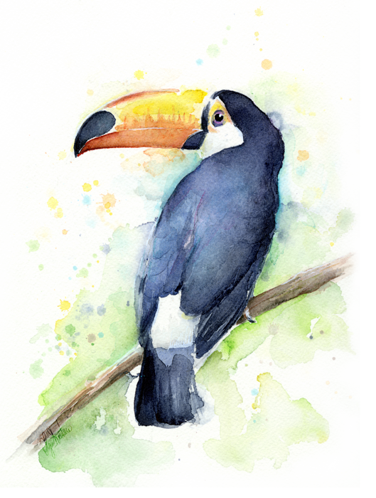 Drawing beach watercolor. Toucan towel for sale