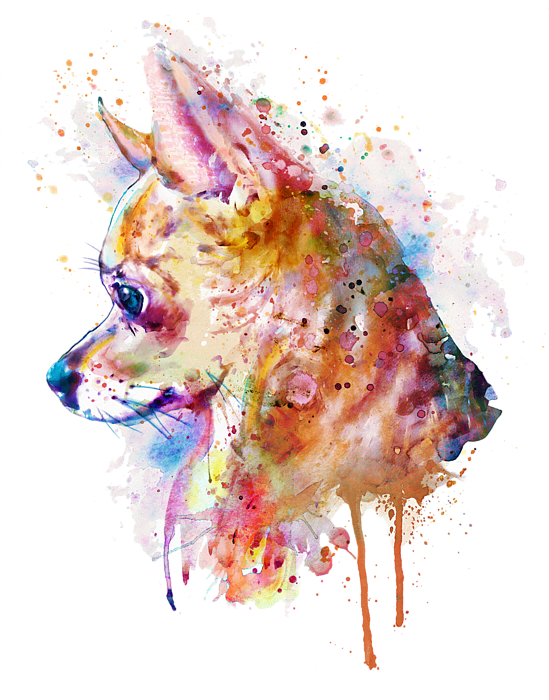 Drip transparent watercolor texture. Chihuahua bath towel for