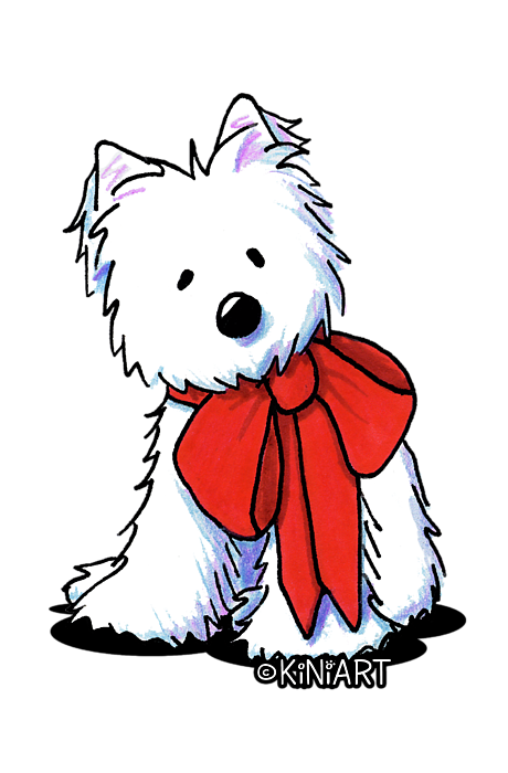 Westie drawing kim. Kiniart in red bow