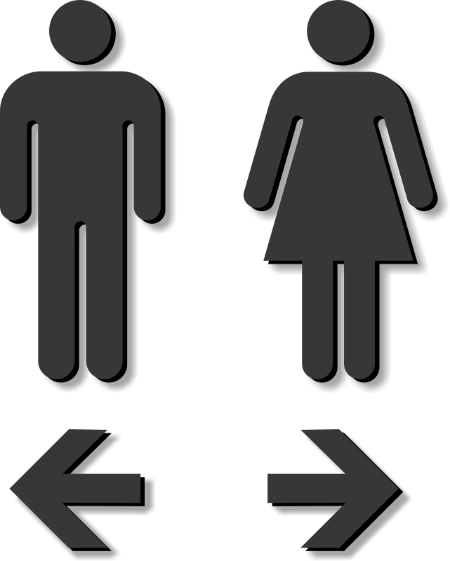 Restroom clipart signage. Die cut sign with