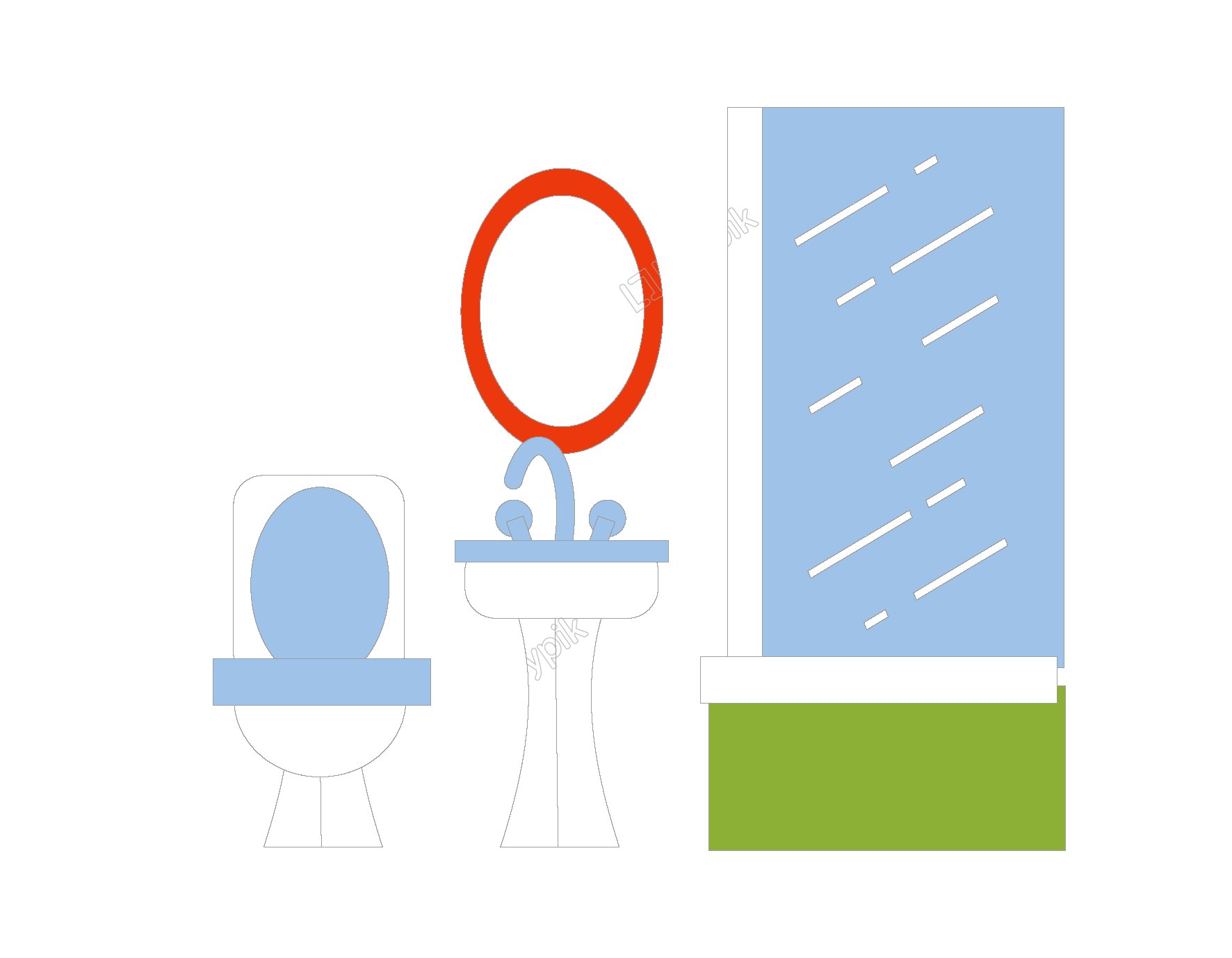 Vector furniture elements. Hand drawn bathroom free