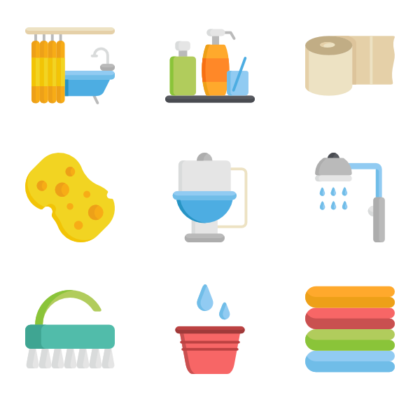 Bathroom vector background. Toilet icon packs