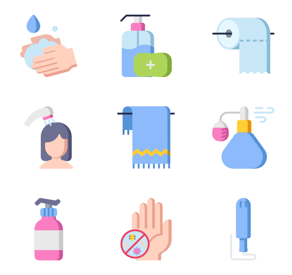 Bathroom vector comfort room. Icons free hygiene routine