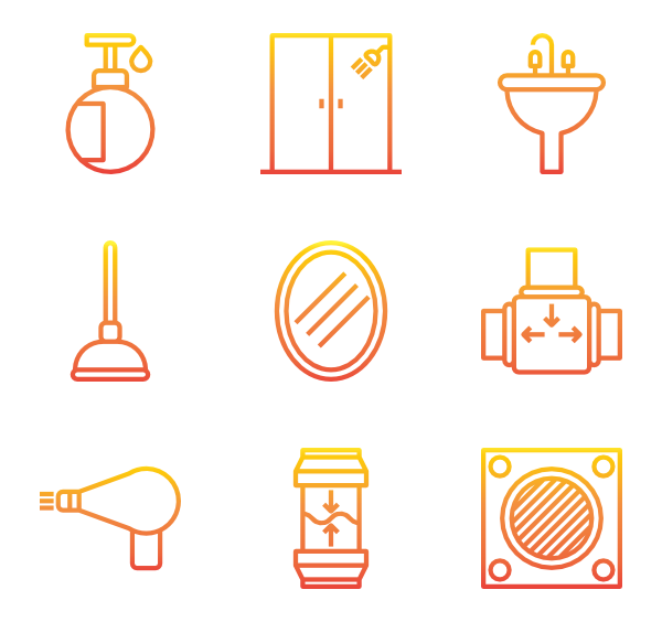 Decor vector font. Toilet icons free home