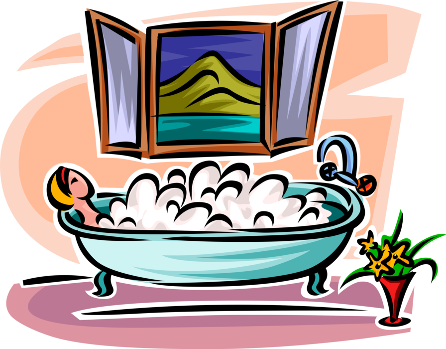 Bathroom vector illustration. Woman relaxes in bubble