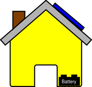 Battery clipart solar battery. Yellow house with panel
