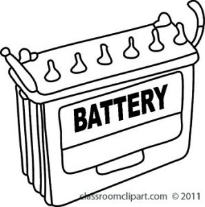 Battery clipart vehicle battery. Car objects s bw