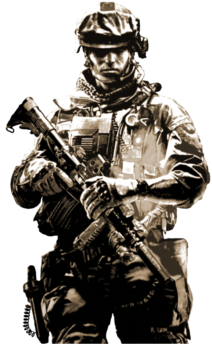 Battlefield transparent soldier