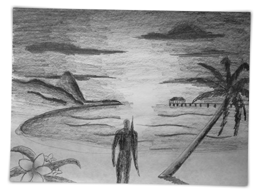 Bay drawing beach. Pictures sunset sketch arts