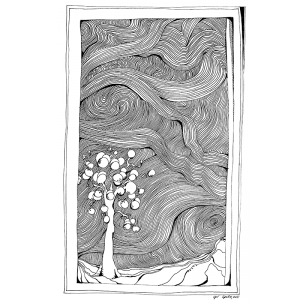 Relief drawing ink. Bay shore in the