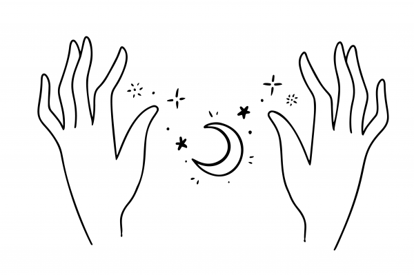 Bbohemian hand drawn style logo icon of hands holding stars and a moon. Fashion jewelry skin