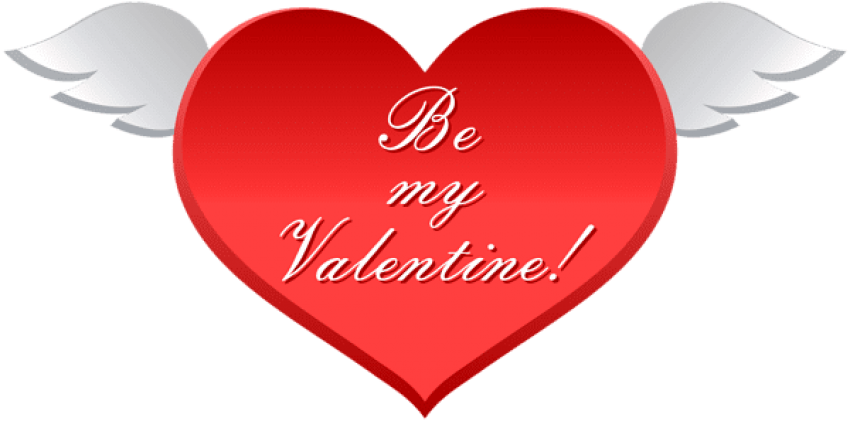 Valentine transparent be my. Download heart with wings