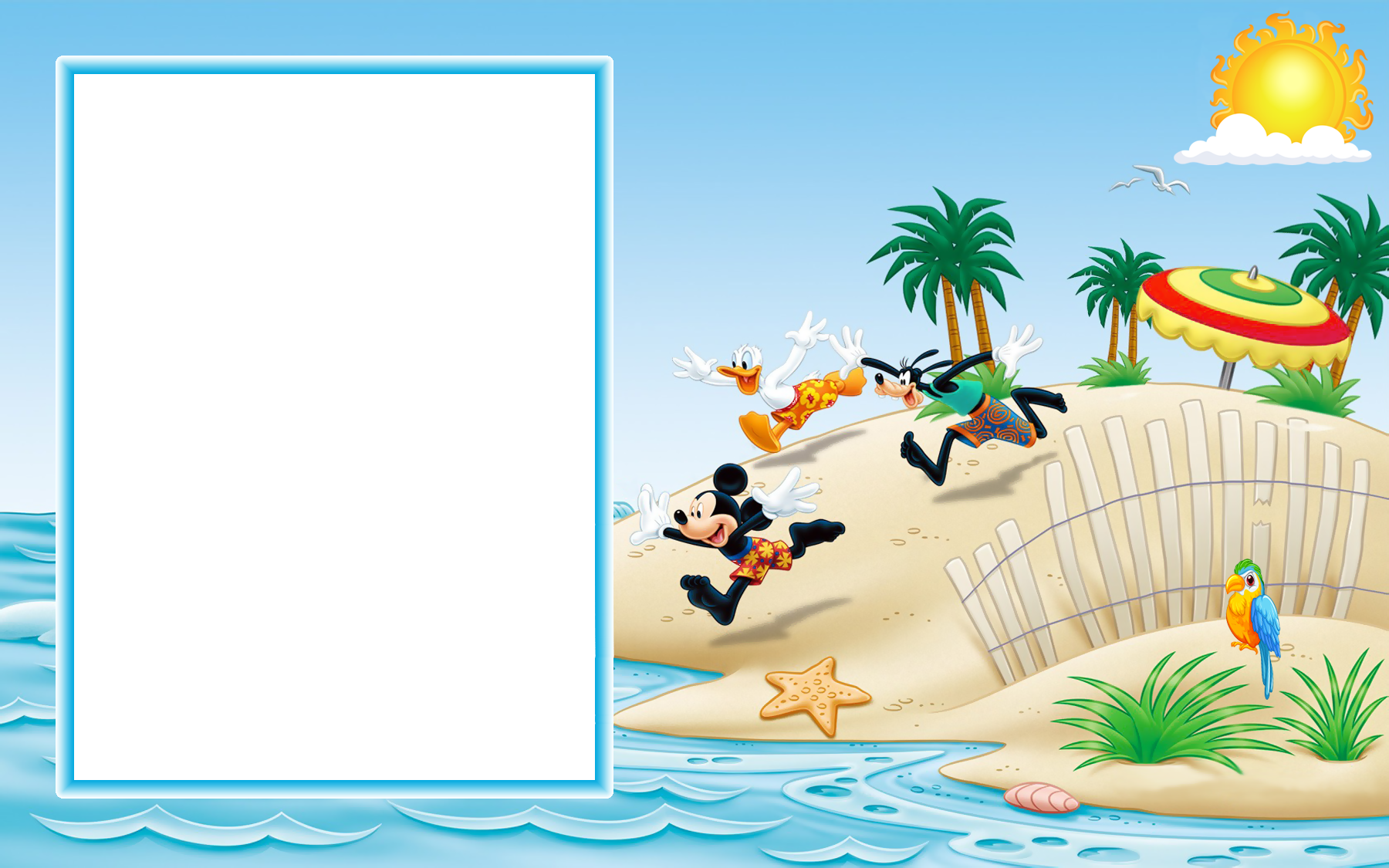 Beach border png. Mickey mouse and friends