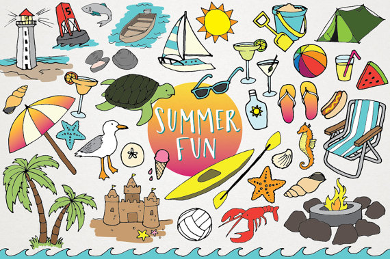 Summer fun clip art. Beach clipart supply picture royalty free