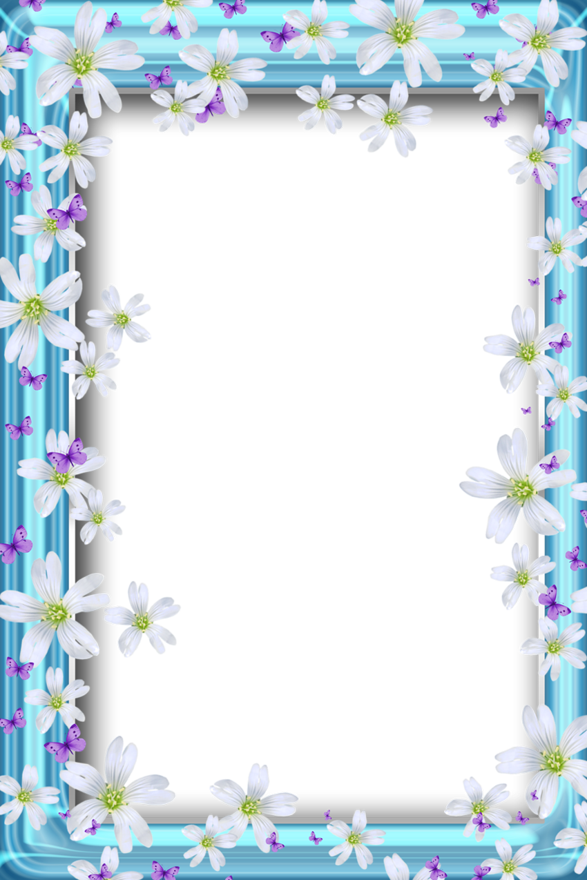 Beach frame png. Transparent bue with flowers