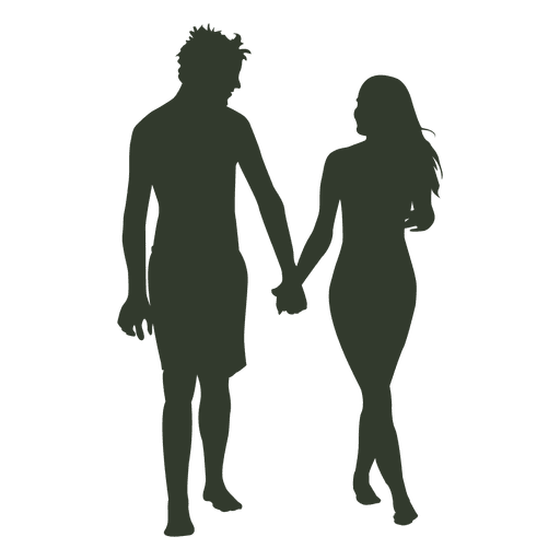 Couple walking silhouette png. Beach transparent svg vector