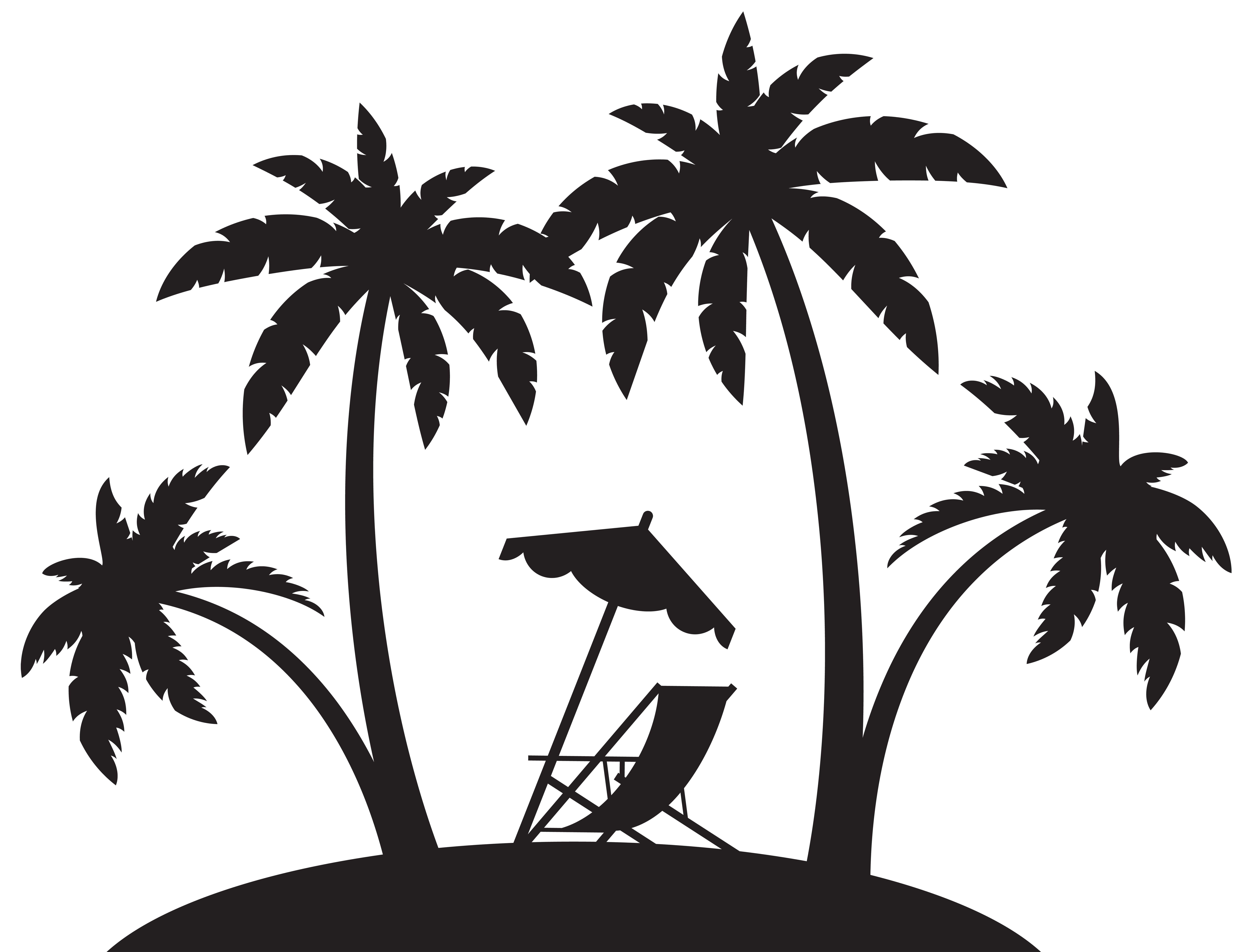 Palms and chair silhouette. Drawing beach tropical vector royalty free stock
