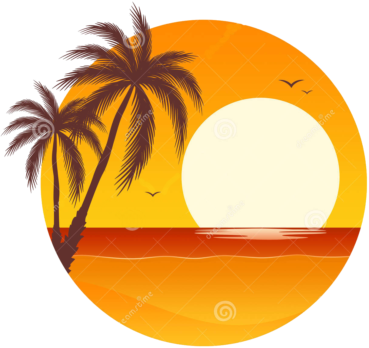 Tropical tree and sunset png. Beach clipart at getdrawings